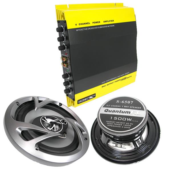 Channel 1400 Watts Car Audio Amplifier Two 1500 Watt 6 5 Speakers