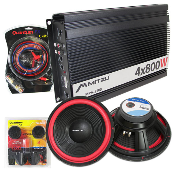 Car Audio Amplifier 2 12quot Car Subwoofers Sub Amp Amp Wire Kit Tweeters