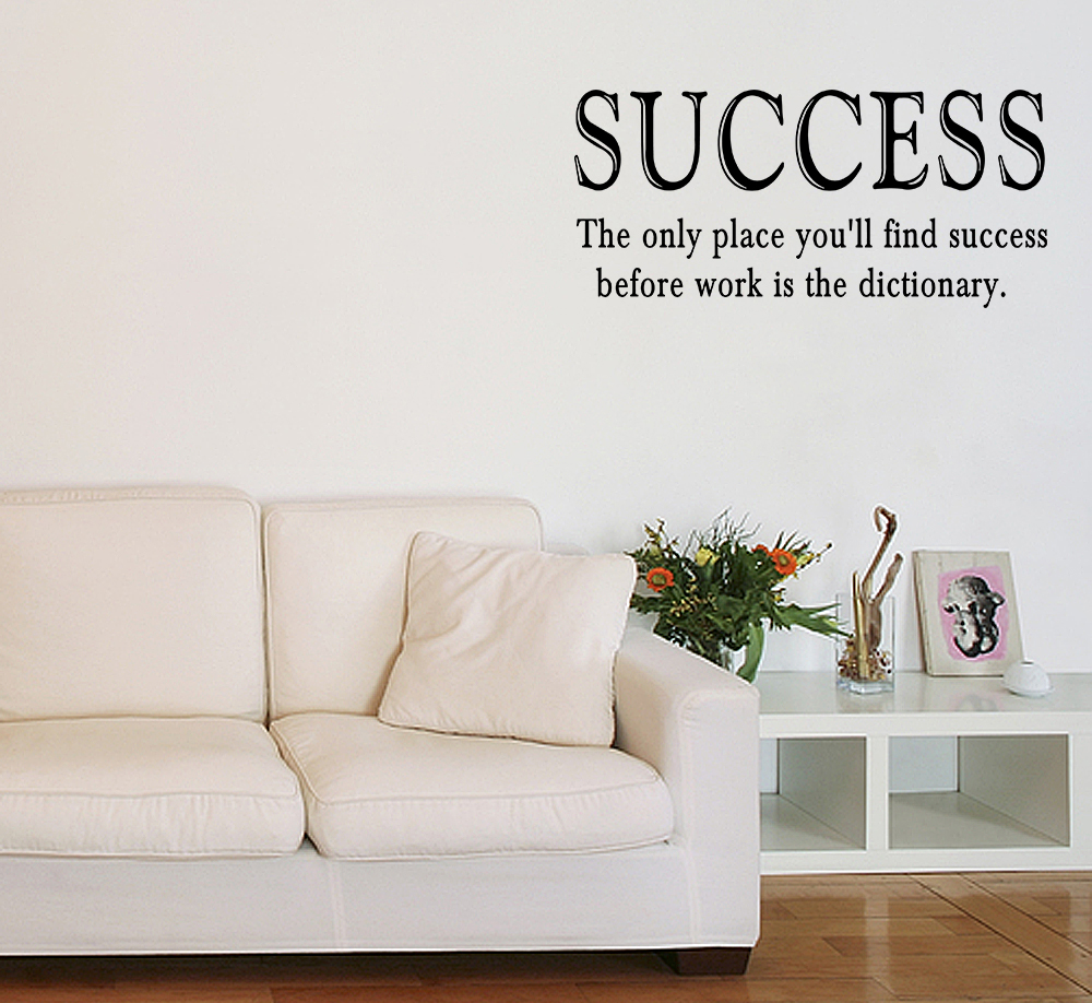 Inspirational Quotes Wall Decor : Success work vinyl wall quote sticker saying decor