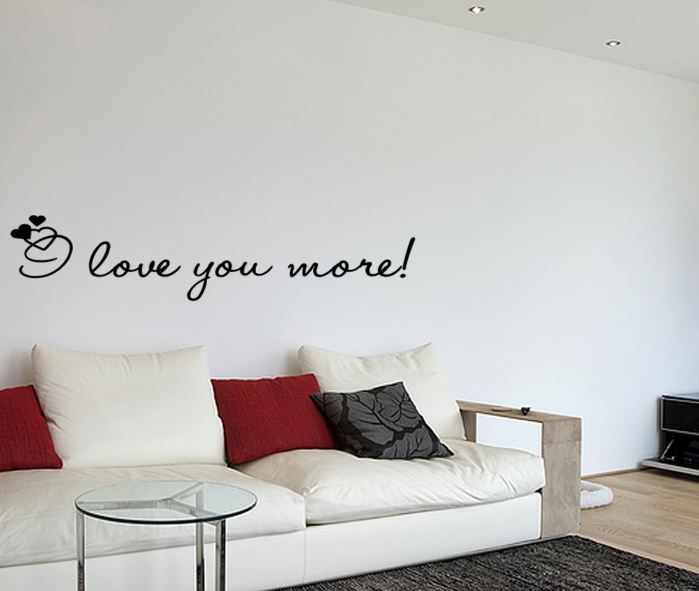 i love you more vinyl wall quotes lettering sayings art. Black Bedroom Furniture Sets. Home Design Ideas