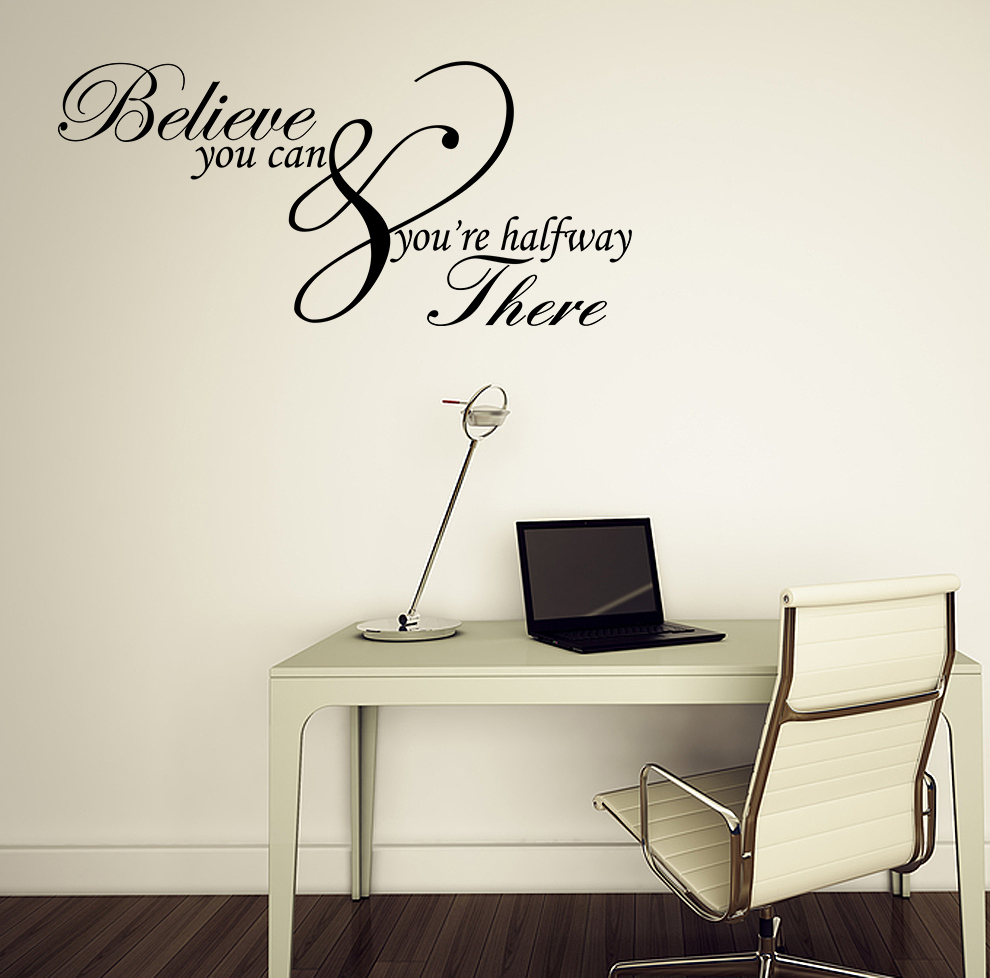 Inspirational Quotes Wall Decor : Believe you can inspirational quote vinyl wall art sticker