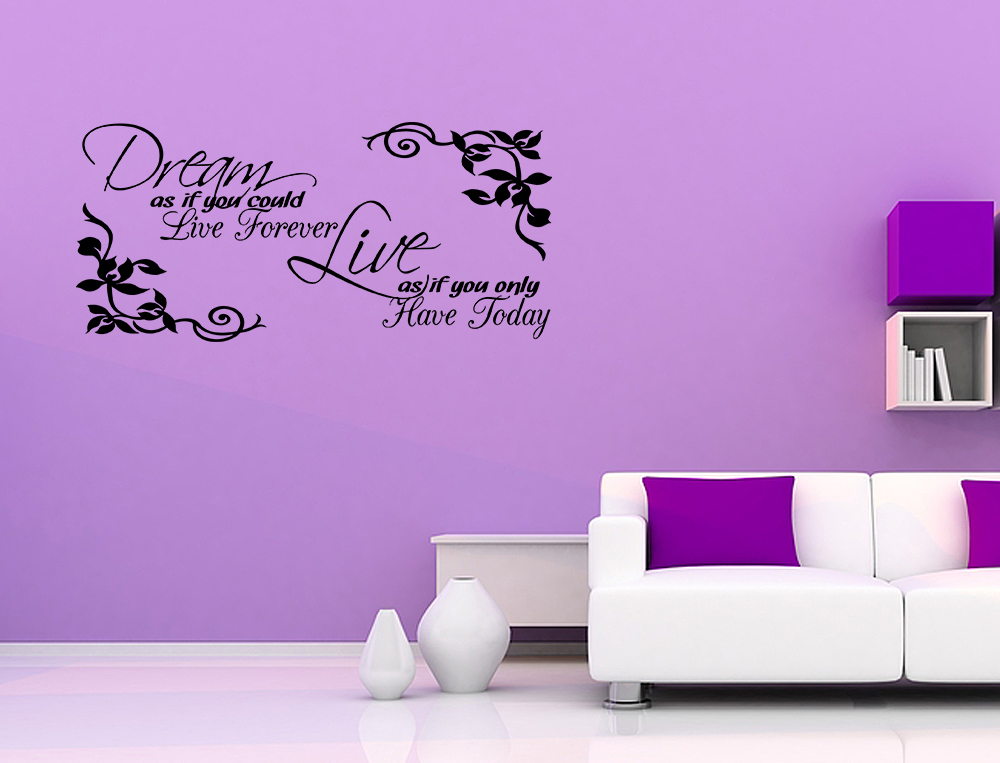 Wall Art Decor Inspirational : Vinyl wall art sticker decal quote dream as if