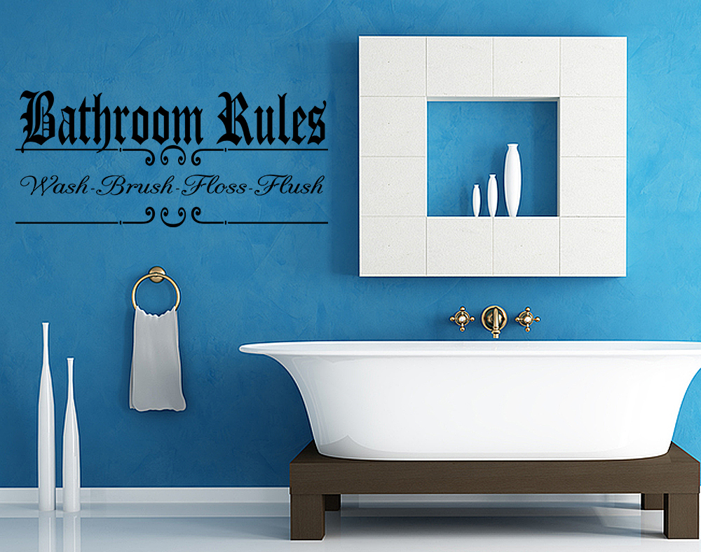 Bathroom Rules Vinyl Wall Art Bathroom Wall Sticker Decal Humor J218 Ebay