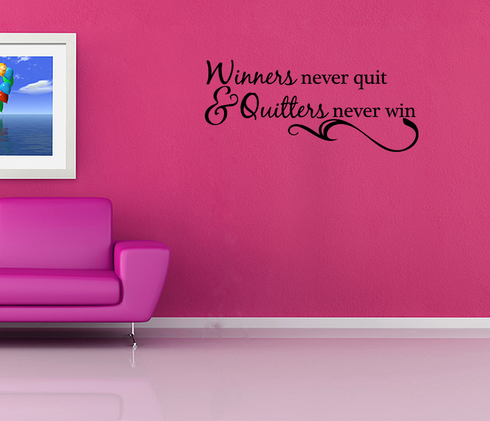 winners never quit vinyl wall quote decal sports