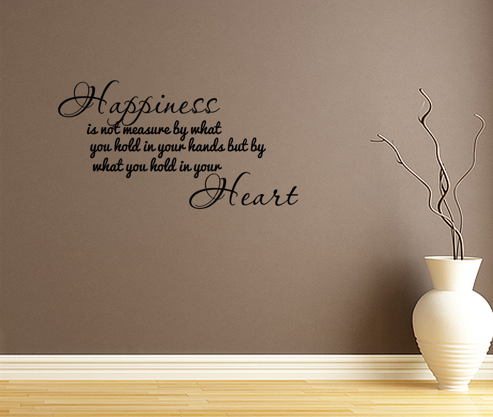 Happiness home bedroom decor vinyl wall quote art decal for Home decor quotes on wall