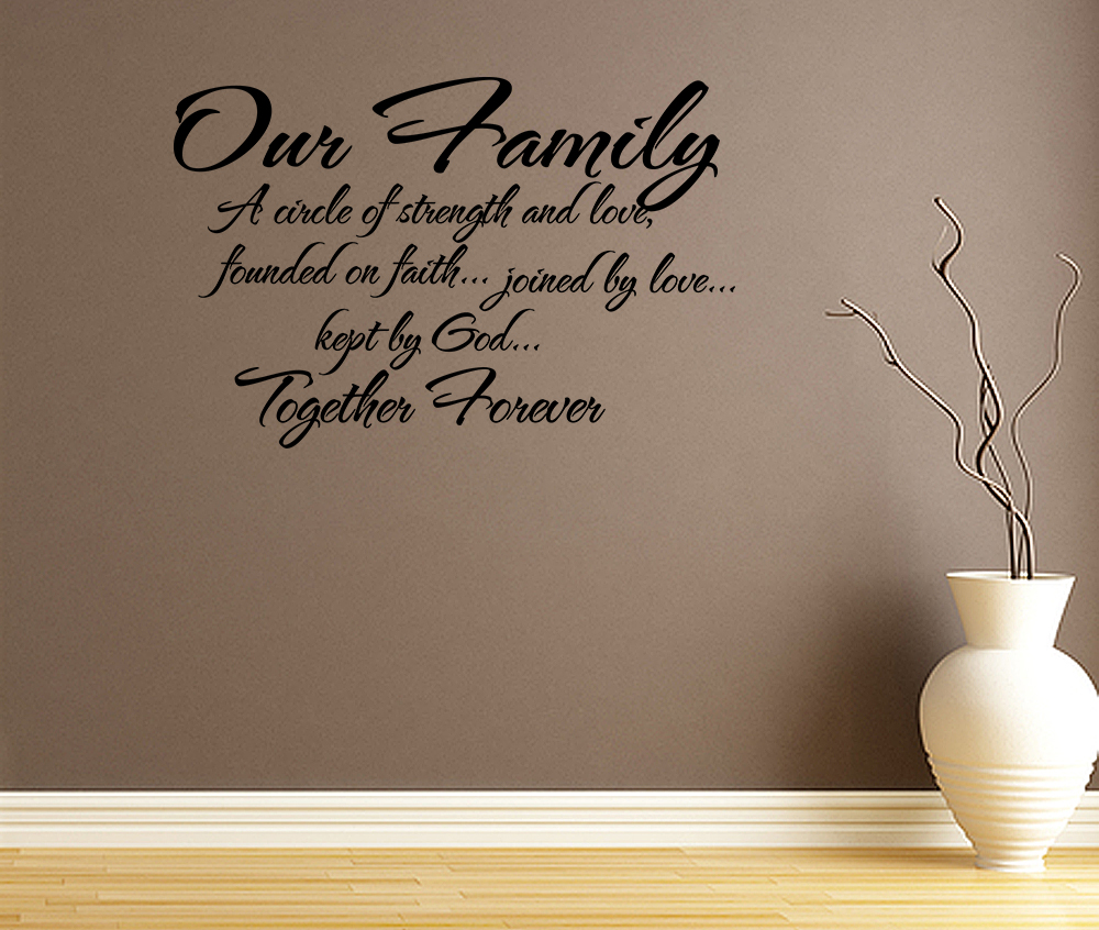 Charming Family Quote Wall Stickers Our Family Circle Of Strength And Love Wall  Decal Quote