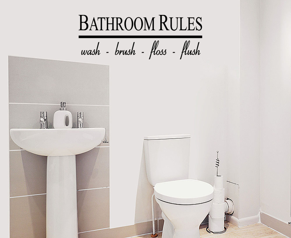 Bathroom Lettering Decor : Bathroom rules wall quote lettering bath vinyl