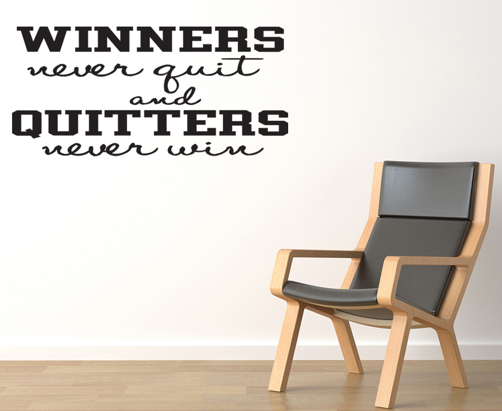 winners never quit wall quote decal sticker art sports