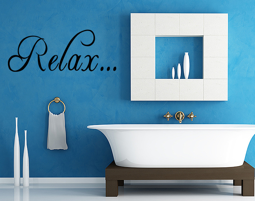 Relax wall art quote vinyl sticker decal transfer bedroom for Relax bathroom wall decor