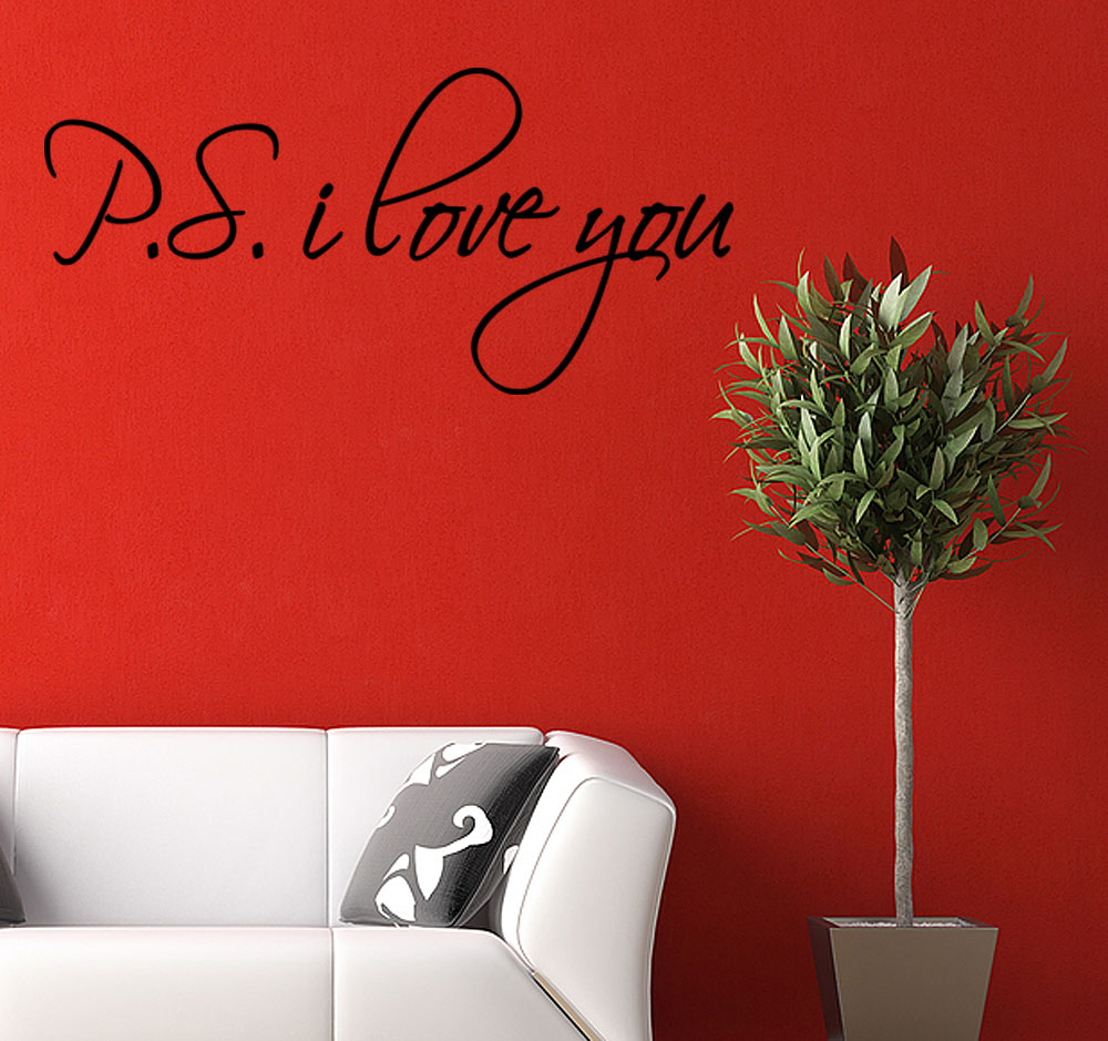 Ps p s i love you inspirational decal wall decor quote for Stickers deco