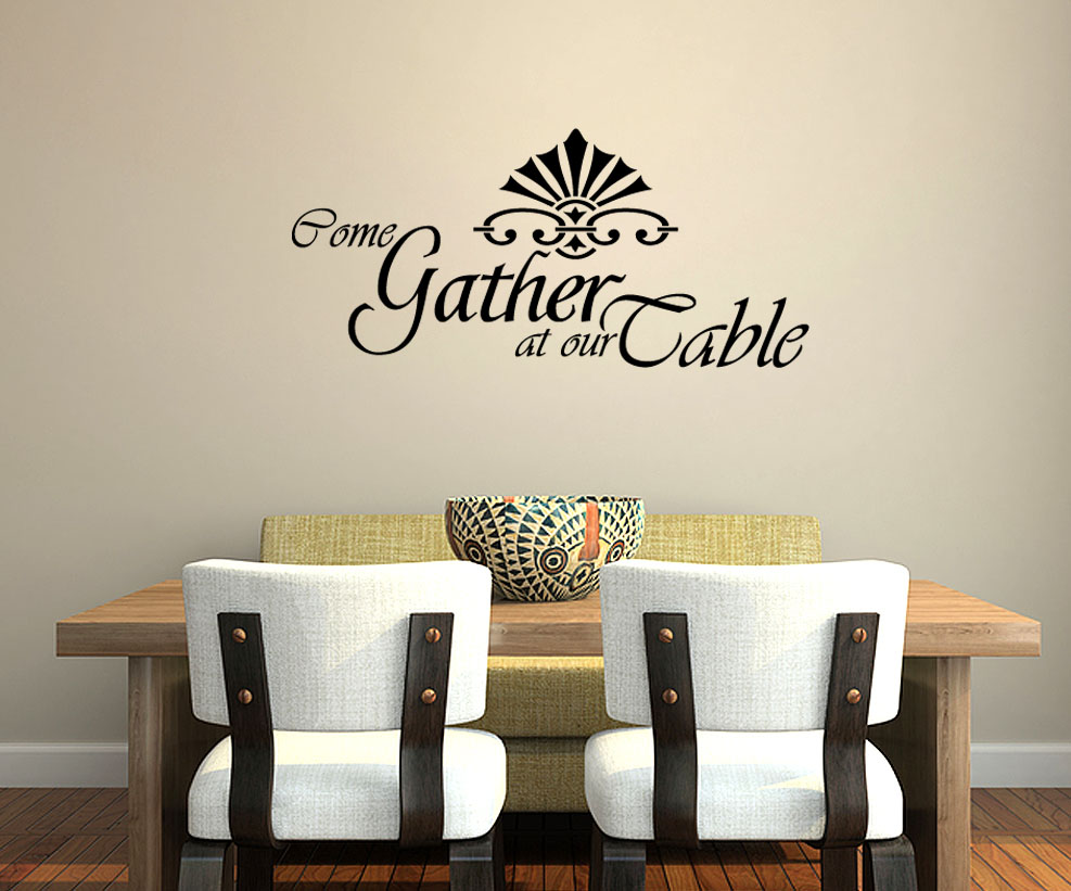 Come gather at our table wall art decal decor kitchen for Dining room wall art stickers