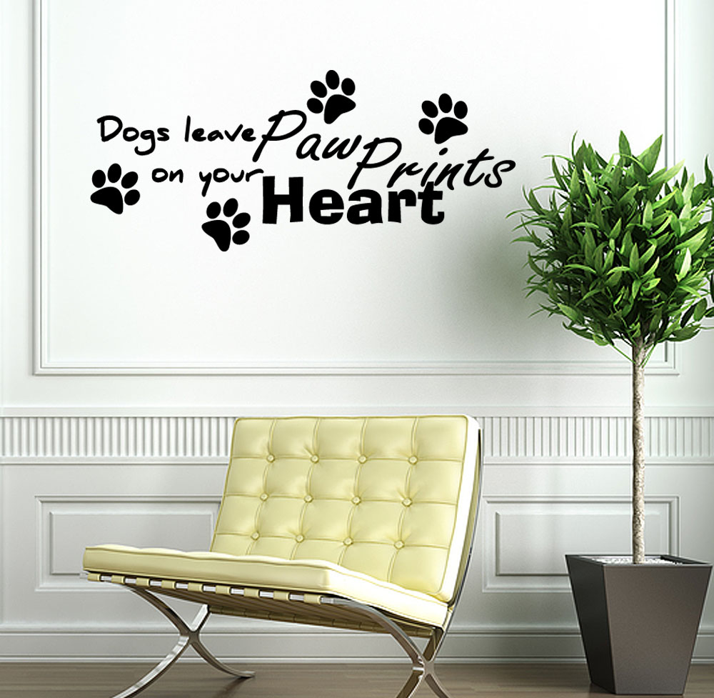 Dogs Leave Paw Prints on Your Heart Vinyl Wall Art Decal Sticker Quote Removable