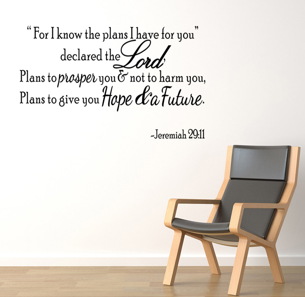 Best bible verse wall decals home design 932 bible verse wall decals psalm 9611 vinyl wall stickers art jeremiah 29 11 for i know the plans amipublicfo Image collections