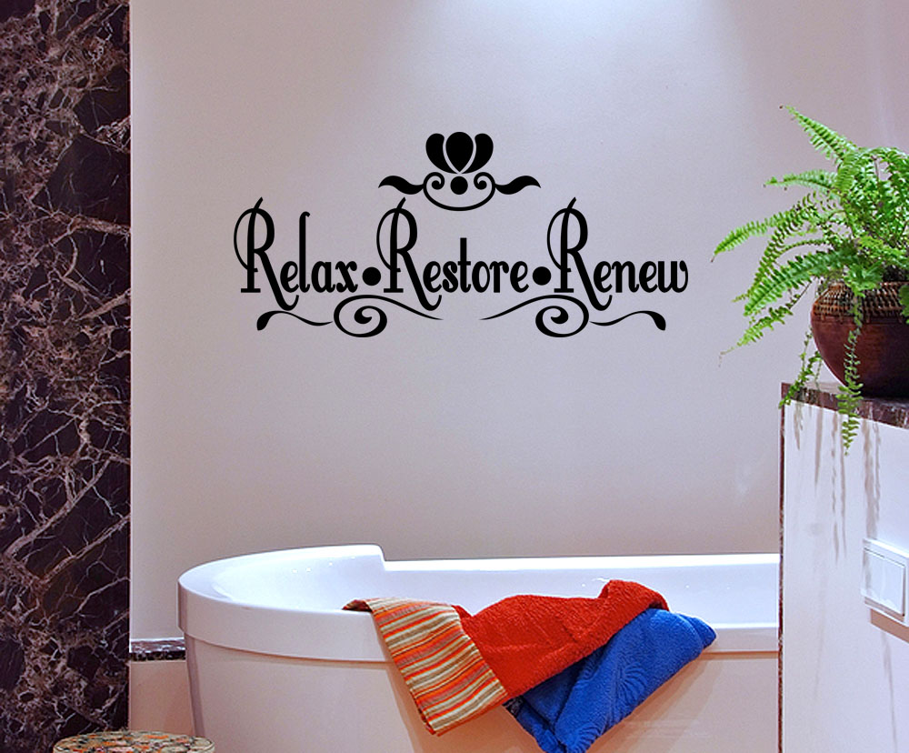 Relax Restore Renew Vinyl Wall Quote Mural Decal Bathroom Wall Decor Sticker