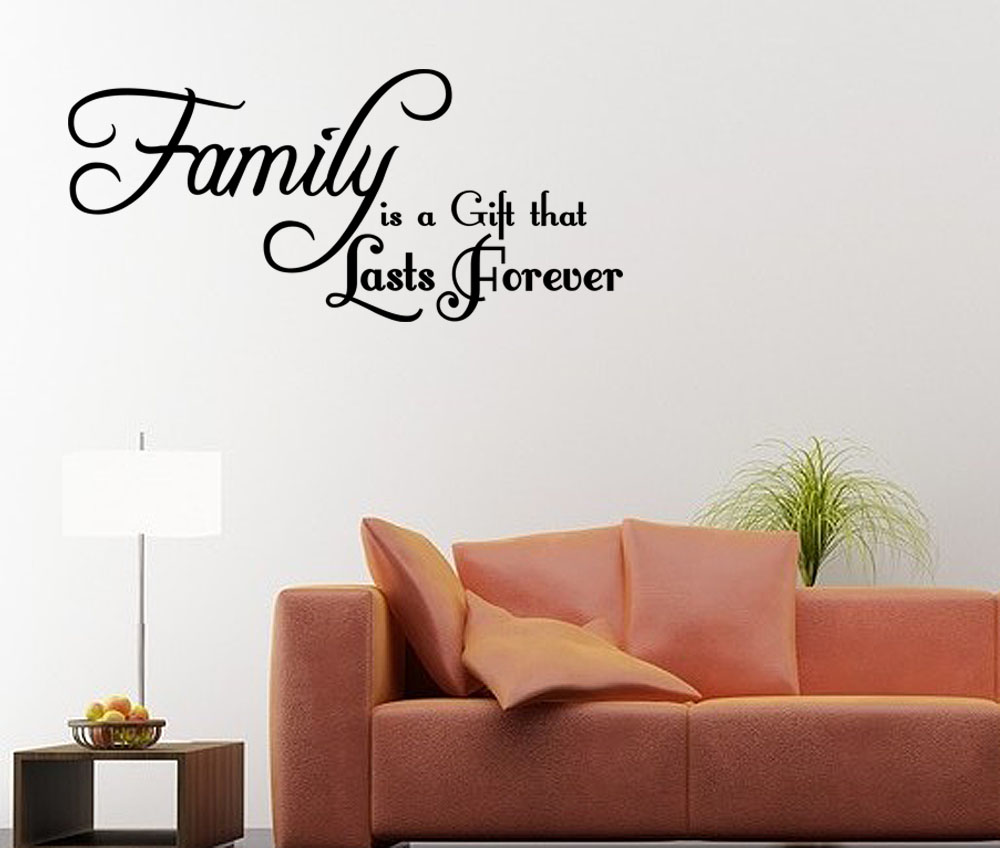 Wall art decals family quotes : Family is a gift that lasts forever wall decal quote