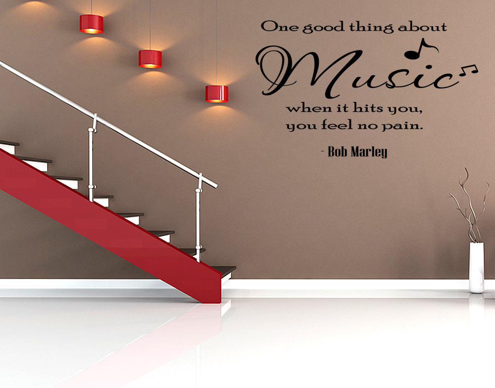 Wall Decorations Music : One good thing about music vinyl wall art sticker room