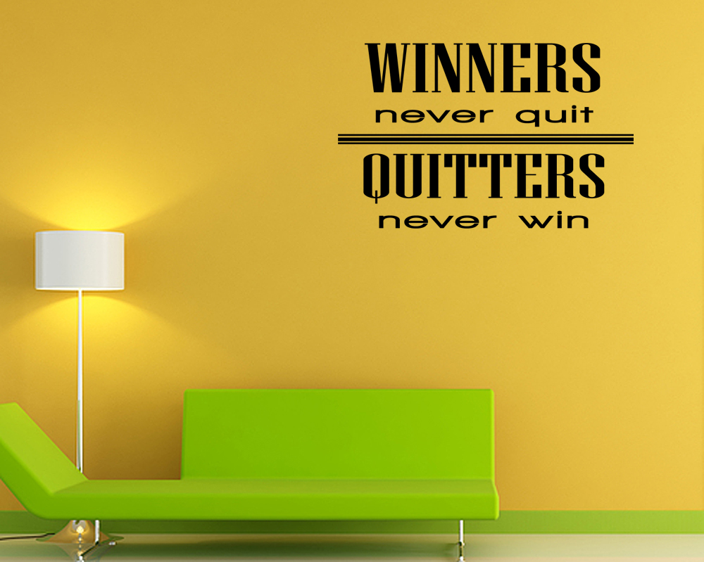 winners never quit sports vinyl wall quote decal sticker
