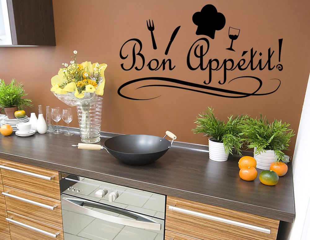 Bon Appetit Kitchen Chef Wall Quote Home Decor Decal J49.