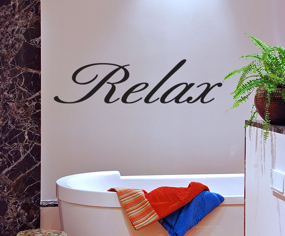 Relax Vinyl Wall Quote Decal Bathroom Decor Wall Sticker Removable Mural Art