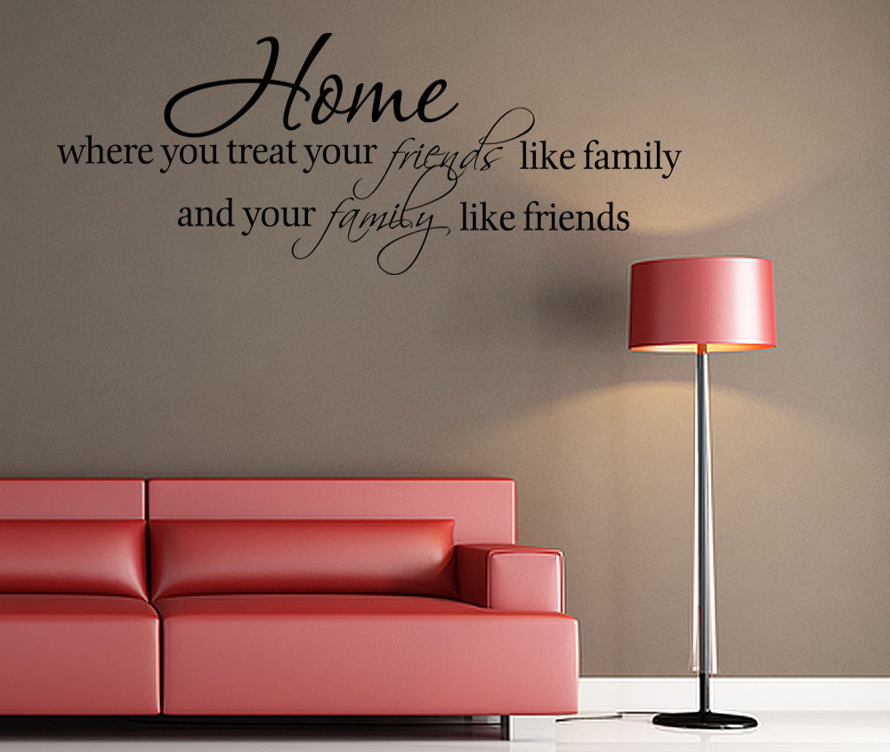 Home Friends Family Vinyl Wall quote Decal home Decor Wall