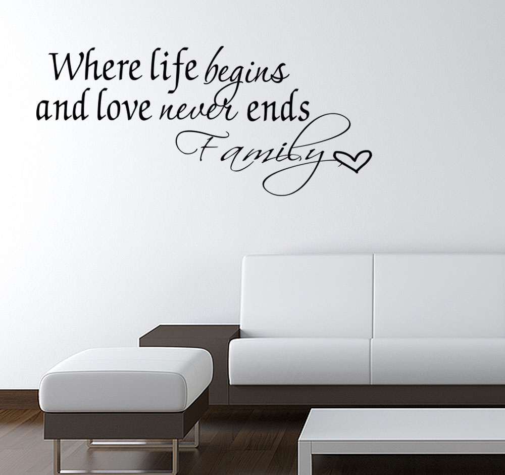 Family Love Never Ends Quote Vinyl Wall Quote Decal Home