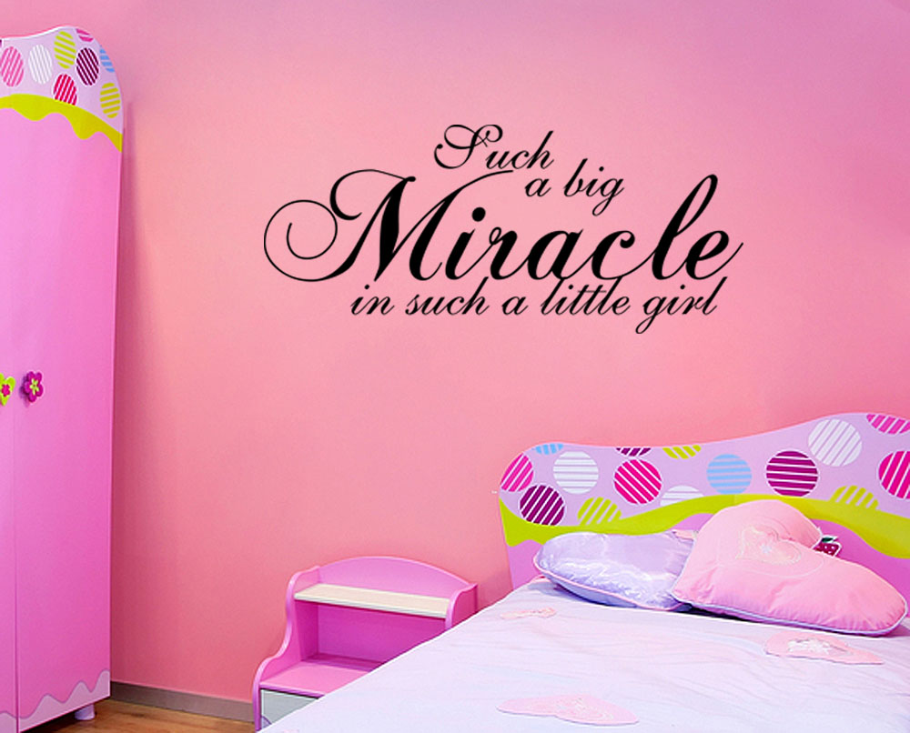 Wall Decal Quotes For Baby Nursery : Miracle little girl wall quote nursery baby vinyl