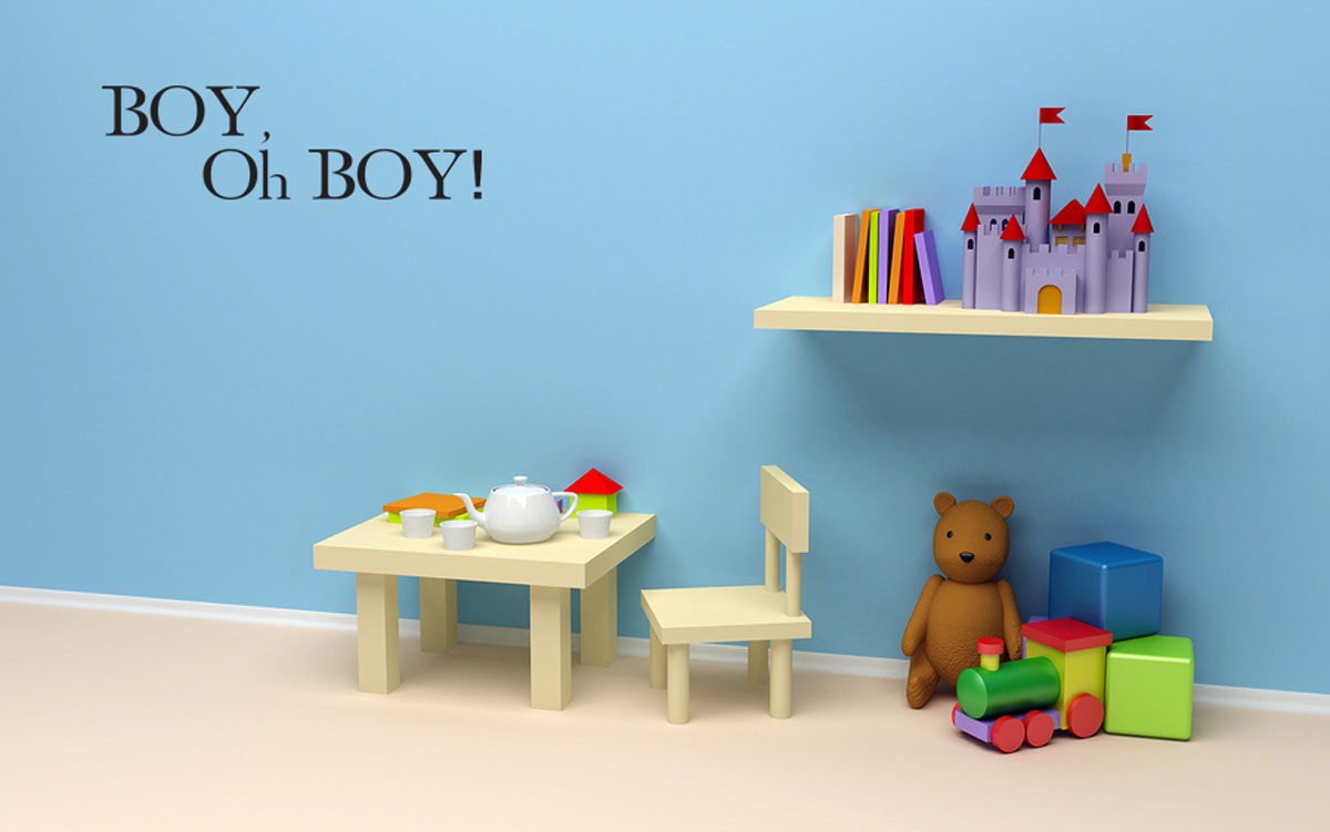 BOY Oh Boy Wall Decal Quote Wall Sticker Wall Quote Baby Room Kid