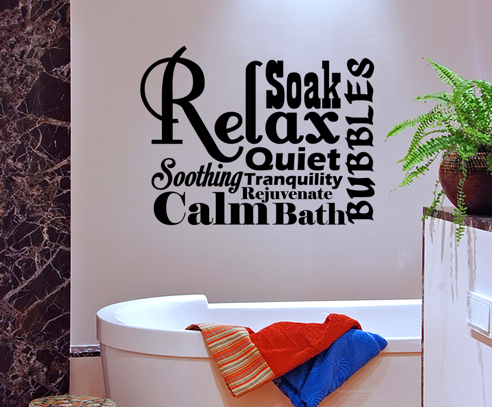 Relax spa bathroom rules lettering bath word vinyl decor for Spa wall decor