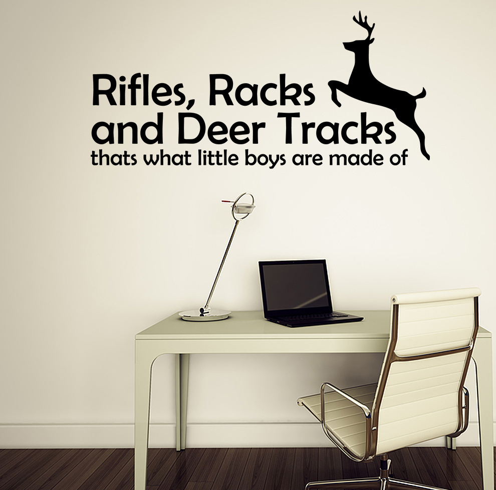 Rifles racks deer tracks boys hunting vinyl wall decal for Hunting wall decals