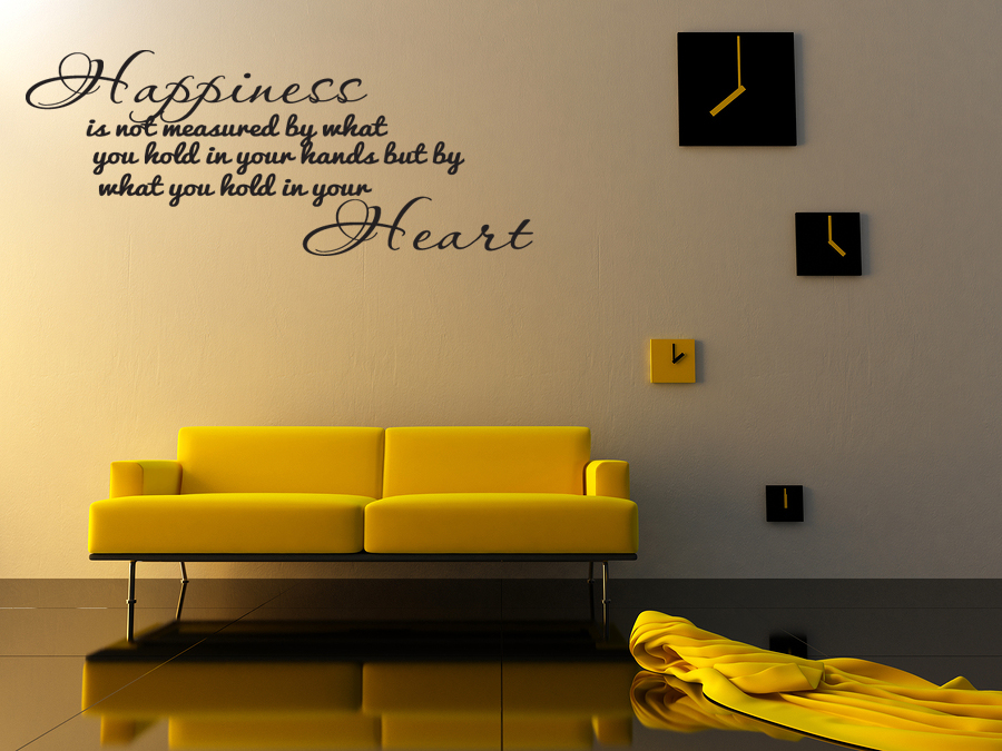Happiness home bedroom decor vinyl wall quote art decal Bedroom wall art